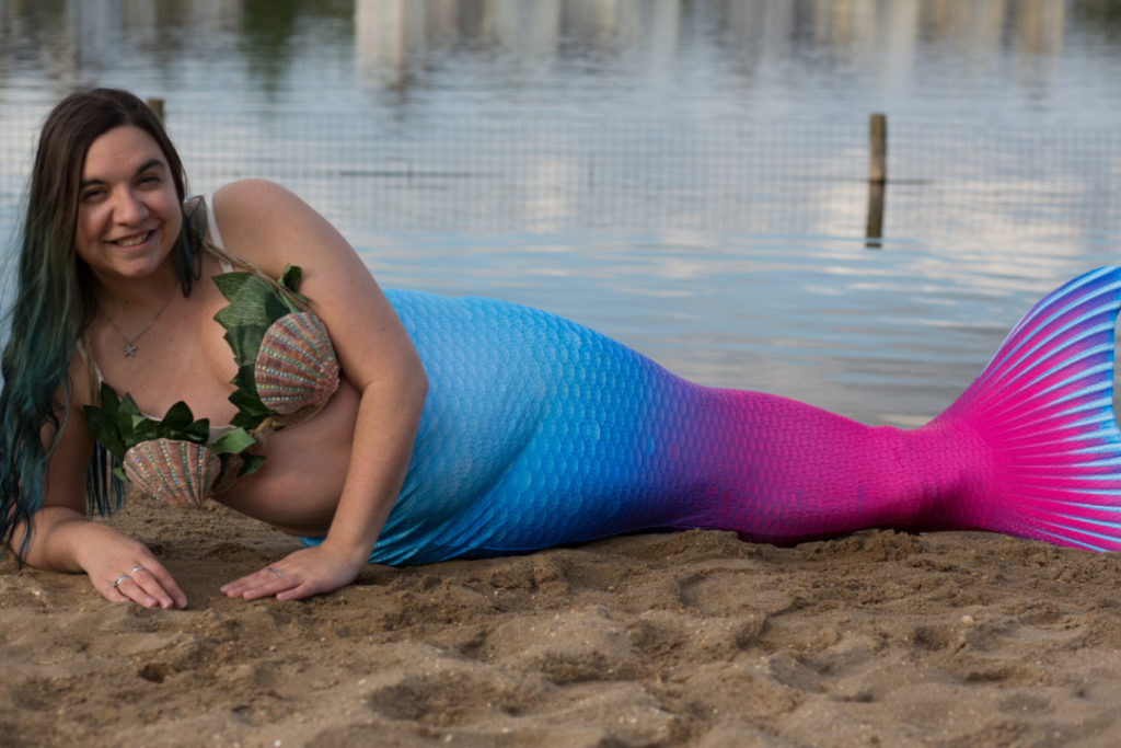 Mermaid Kerenza Sapphire in pink and blue ombre tail | mermaiding.co.uk