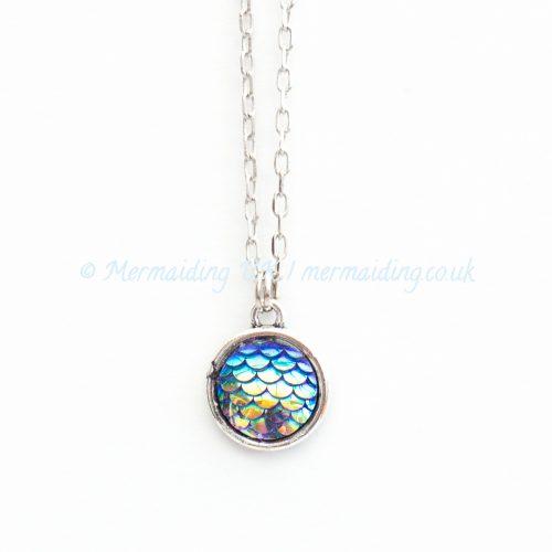Deep Blue mermaid scale necklace   Mermaiding UK   mermaiding.co.uk