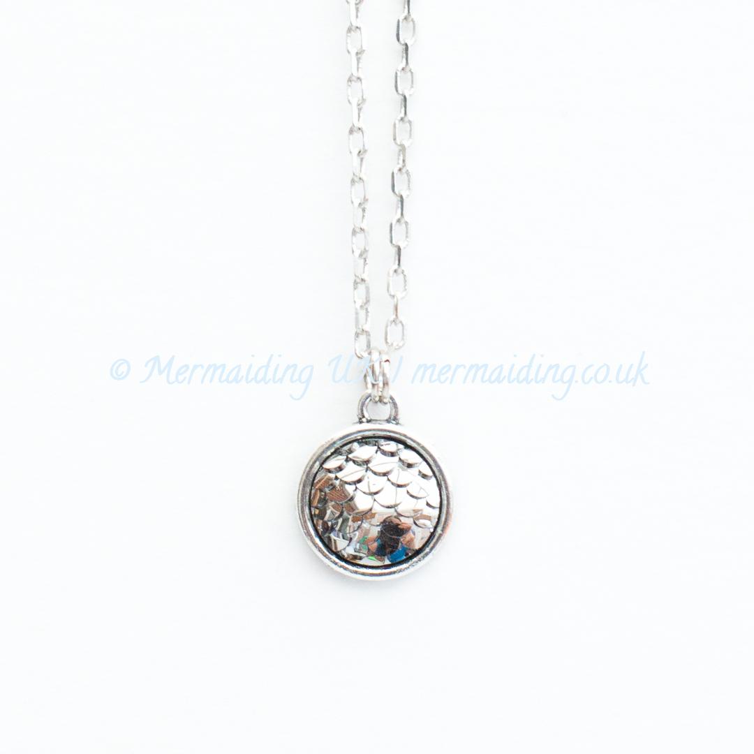 Silvery Grey mermaid scale necklace | Mermaiding UK | mermaiding.co.uk