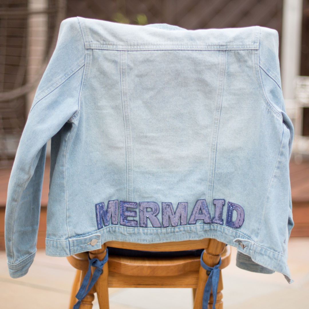 mermaid denim jacket with sequin patches | mermaiding.co.uk