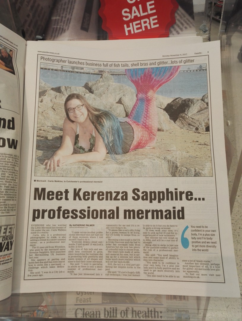 Gazette newspaper article about Mermaid Kerenza Sapphire | mermaiding.co.uk
