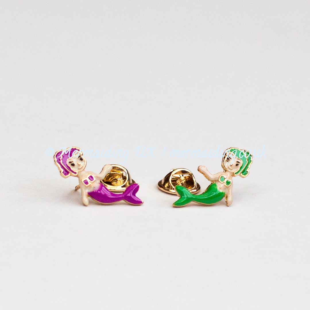Pink and green mermaid enamel pins | Mermaiding UK | mermaids.co.uk