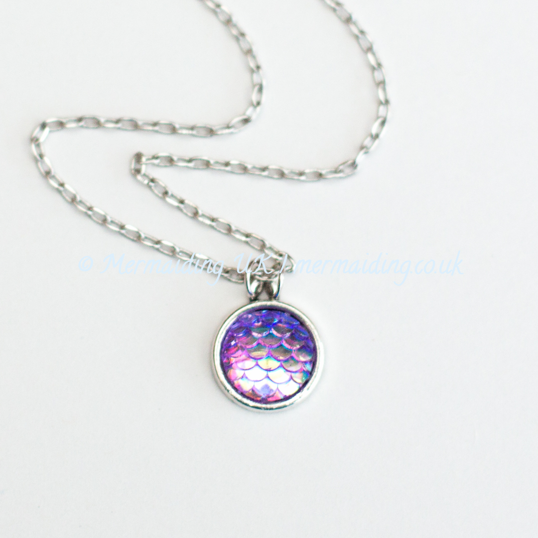 Purple mermaid scale necklace | Mermaiding UK | mermaiding.co.uk