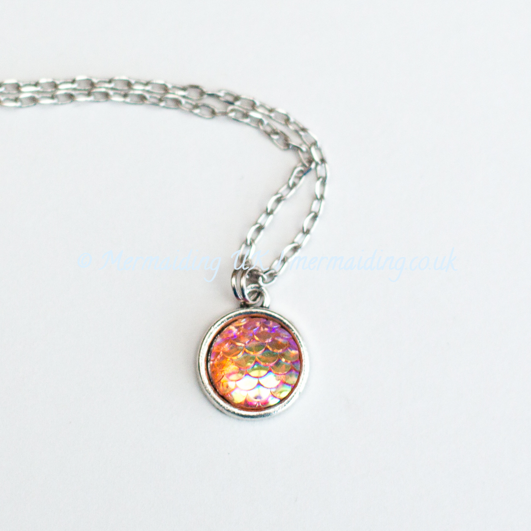 Orange mermaid scale necklace | Mermaiding UK | mermaiding.co.uk