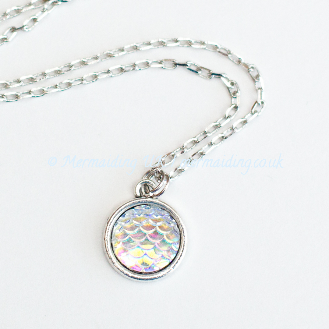 White mermaid scale necklace | Mermaiding UK | mermaiding.co.uk