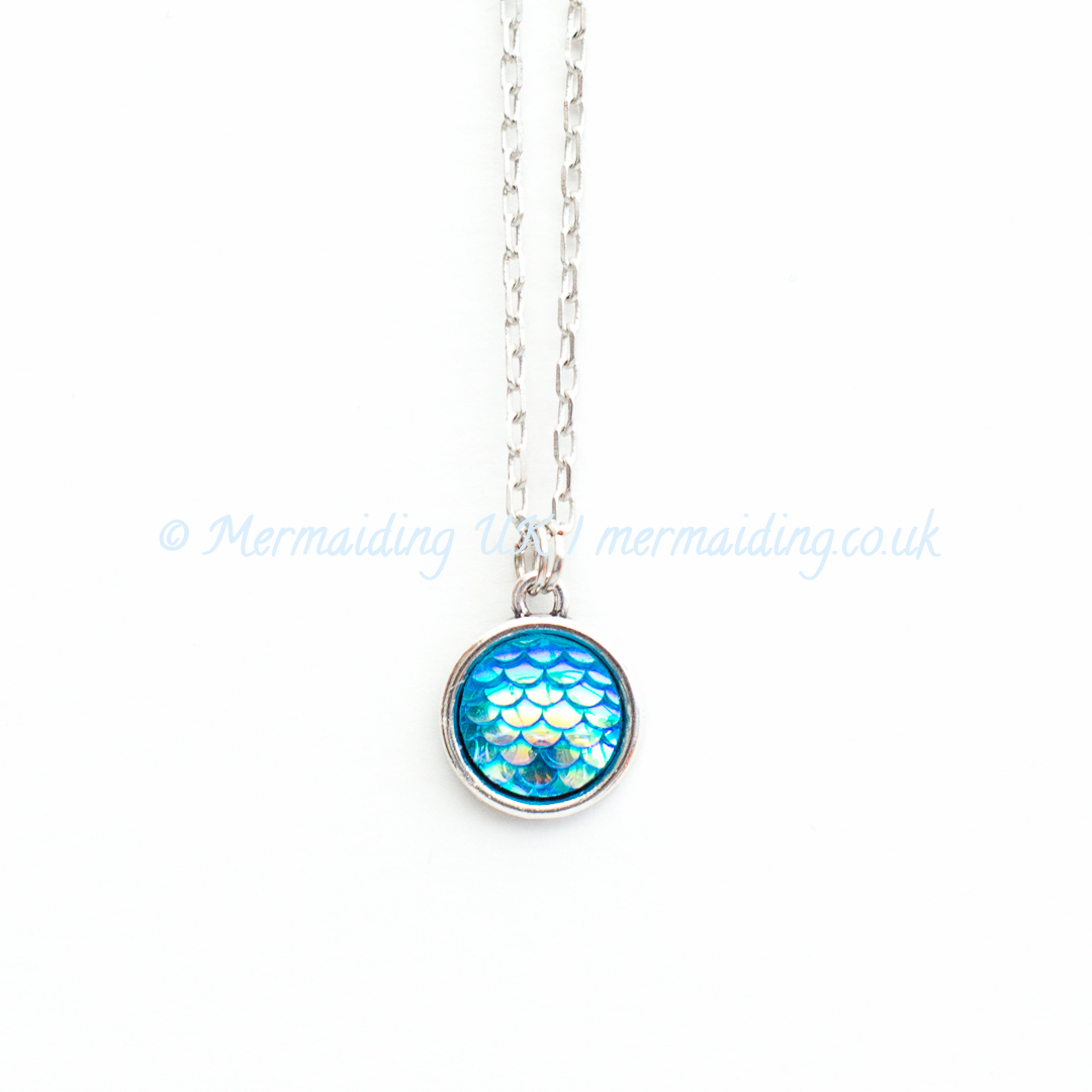 Aqua Blue mermaid scale necklace | Mermaiding UK | mermaiding.co.uk