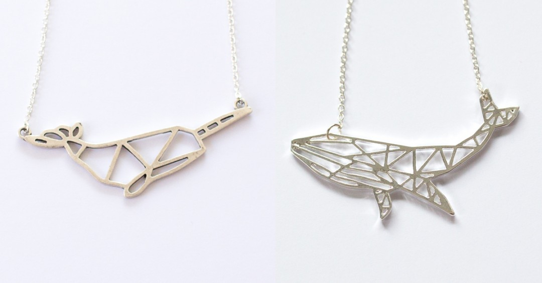 Geometric narwhal and whale necklaces | Mermaiding UK mermaid shop | mermaiding.co.uk